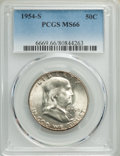 Franklin Half Dollars, 1954-S 50C MS66 PCGS. PCGS Population: (497/8). NGC Census: (489/8). CDN: $125 Whsle. Bid for problem-free NGC/PCGS MS66. M...