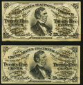 Fractional Currency:Third Issue, Fr. 1294 25¢ Third Issue New;. Fr. 1295 25¢ Third Issue Extremely Fine.. ... (Total: 2 notes)