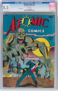Atomic Comics #2 (Green Publishing Co., 1946) CGC VF+ 8.5 White pages