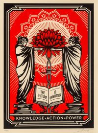 Shepard Fairey (b. 1970) Knowledge + Action, 2018 Screenprint in colors on speckled cream paper 2