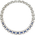 Estate Jewelry:Necklaces, Diamond, Sapphire, White Gold Necklace, Chopard. ...