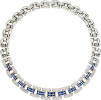 Diamond, Sapphire, White Gold Necklace, Chopard