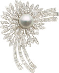 Estate Jewelry:Brooches - Pins, Diamond, South Sea Cultured Pearl, Platinum Brooch. ...