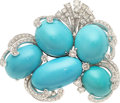 Estate Jewelry:Brooches - Pins, Turquoise, Diamond, Platinum Brooch. ...