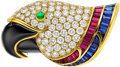 Estate Jewelry:Brooches - Pins, Diamond, Multi-Stone, Gold Clip-Brooch, Picchiotti. ...