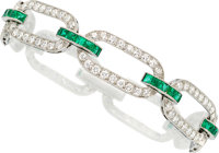 Art Deco Diamond, Emerald, Platinum Bracelet, Black, Starr & Frost