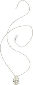 Diamond, White Gold Pendant-Necklace