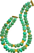 Estate Jewelry:Necklaces, Chrysoprase, Gold Necklace, Verdura. ...