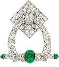 Estate Jewelry:Brooches - Pins, Art Deco Diamond, Emerald, Platinum Clip-Brooch, Mellerio, French . ...
