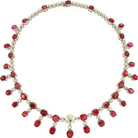 Spinel, Diamond, White Gold Necklace