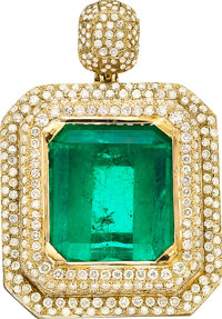Colombian Emerald, Diamond, Gold Pendant