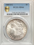 1885-CC $1 MS66 PCGS. PCGS Population: (1280/105 and 220/7+). NGC Census: (679/103 and 60/2+). CDN: $1,400 Whsle. Bid fo...