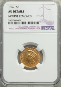 1857 $3 -- Mount Removed -- NGC Details. AU. NGC Census: (47/545). PCGS Population: (58/284). CDN: $875 Whsle. Bid for p...