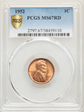 Lincoln Cents, 1952 1C MS67 Red PCGS. PCGS Population: (27/0 and 2/0+). NGC Census: (79/0 and 1/0+). CDN: $1,100 Whsle. Bid for problem-fr...
