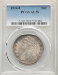 Bust Half Dollars: , 1824/4 50C AU58 PCGS. PCGS Population: (20/29). NGC Census: (10/20). CDN: $1,600 Whsle. Bid for problem-free NGC/PCGS...