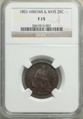 1853 25C Arrows and Rays Fine 15 NGC. NGC Census: (15/1371). PCGS Population: (34/1950). Fine 15. Mintage 15,210,020...