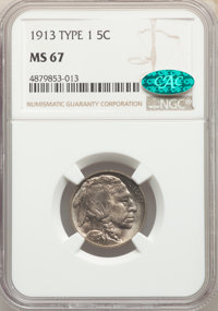 1913 5C Type One MS67 NGC. CAC. NGC Census: (324/26). PCGS Population: (691/29). CDN: $550 Whsle. Bid for NGC/PCGS MS67...