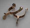 American Indian Art:Jewelry and Silverwork, A Pair of Navajo/Hopi Engraved Spurs... (Total: 2 )