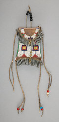 American Indian Art:Beadwork and Quillwork, A Sioux Beaded Leather Strike-A-Light Bag...