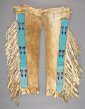 American Indian Art:Beadwork and Quillwork, A Pair of Blackfoot Man's Beaded Hide Leggings... (Total: 2 )