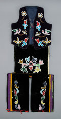 American Indian Art:Beadwork and Quillwork, An Otoe Child's Beaded Cloth Ensemble...