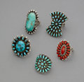 American Indian Art:Jewelry and Silverwork, Five Southwest Rings... (Total: 5 )
