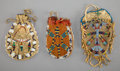 American Indian Art:Beadwork and Quillwork, Three Sioux Beaded Hide Pouches... (Total: 3 )