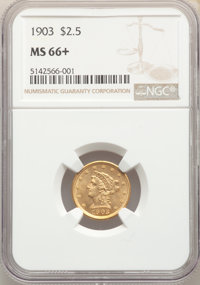 1903 $2 1/2 MS66+ NGC. NGC Census: (301/94 and 18/5+). PCGS Population: (331/84 and 15/11+). MS66. Mintage 201,000. ...(...