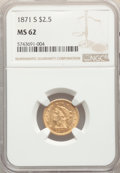 Liberty Quarter Eagles: , 1871-S $2 1/2 MS62 NGC. NGC Census: (3/13). PCGS Population: (3/14). CDN: $2,500 Whsle. Bid for NGC/PCGS MS62. Mintage 22,0...