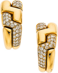 Diamond, Gold Earrings, Bvlgari