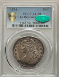 Bust Half Dollars, 1834 50C Large Date, Small Letters, AU58+ PCGS. CAC. PCGS Population: (104/113 and 1/6+). NGC Census: (0/0 and 0/0+)....