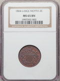 1864 2C Large Motto MS65 Brown NGC. NGC Census: (253/35). PCGS Population: (104/23). MS65. Mintage 19,847,500
