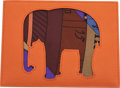 "Luxury Accessories:Bags, Hermès Orange H & Etoupe Clemence Leather Elephant Pochette. Condition: 1. 6.5"" Width x 5"" Height x .25"" Depth. ..."