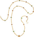 """Luxury Accessories:Accessories, Chanel Red and Green Gripoix Gold Chain Necklace . Condition: 2. 34"""" Drop. ..."""
