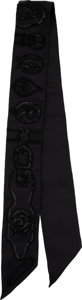 """Luxury Accessories:Accessories, Hermès """"Harnais des Presidents"""" Black Silk Twilly Scarf. Condition: 1. Dimensions: 2"""" Width x 34"""" Length. ..."""