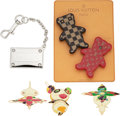 Luxury Accessories:Accessories, Louis Vuitton Set of 6: Takashi Hair Pins, Resin Bear Pins, and Silver Charm. Condition: 2. See Extended Condition Report ... (Total: 6 )