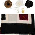 Luxury Accessories:Accessories, Chanel Set of Six: Three Camellia Brooches, Gold Pin, Silver Keychain, and Scarf. Condition: 2. See Extended Condition Rep... (Total: 6 )