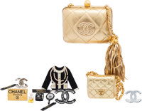Chanel Set of Eight: Gold Clutch, Gold Micro Mini Flap Bag, & Brooches Condition: 3 See Extended