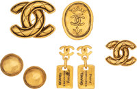 Chanel Set of 5: Gold Brooches & Earrings Condition: 3 See Extended Condition Report for Sizes