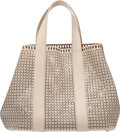 """Luxury Accessories:Bags, Alaia Beige Leather Laser Cut Eyelet Tote Bag . Condition: 2. 17"""" Width x 12"""" Height x 7.5"""" Depth . ..."""