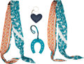 Luxury Accessories:Accessories, Hermès and Bottega Veneta Set of Four: Twilly Scarves and Charms. Condition: 2. See Extended Condition Report for Size... (Total: 4 Items)
