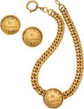 Luxury Accessories:Accessories, Chanel Set of Two: Medallion Clip On Earrings and Gold Chain Necklace . Condition: 3. See Extended Condition Report fo... (Total: 2 )