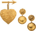 Luxury Accessories:Accessories, Chanel Set of Two: Clip-On Earrings and Heart Brooch. Condition:2. See Extended Condition Report for Sizes.... ... (Total: 2 )