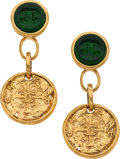 """Luxury Accessories:Accessories, Chanel Emerald Gripoix and Gold Doubloon Clip- On Earrings . Condition: 2. 3"""" Length . ..."""