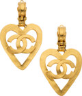 "Luxury Accessories:Accessories, Chanel Gold Heart CC Clip-On Earrings. Condition: 2. 1.75"" Width. ..."