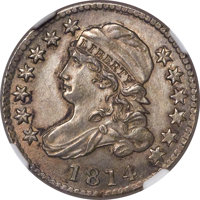1814 10C Large Date, JR-2, R.3, MS64+ NGC