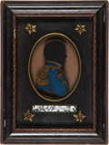 Military & Patriotic:Foreign Wars, British Naval Officer Silhouette on Glass. . ...