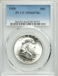 Franklin Half Dollars, 1950 50C MS66 Full Bell Lines PCGS. PCGS Population: (308/23). NGC Census: (57/3). CDN: $425 Whsle. Bid for problem-free NG...