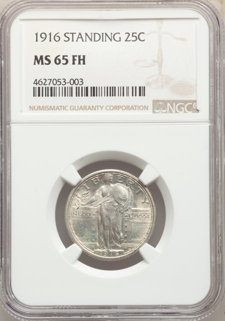 1916 25C STANDING, FH 65 NGC