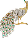 Estate Jewelry:Brooches - Pins, Diamond, Emerald, Ruby, Gold Brooch. ...